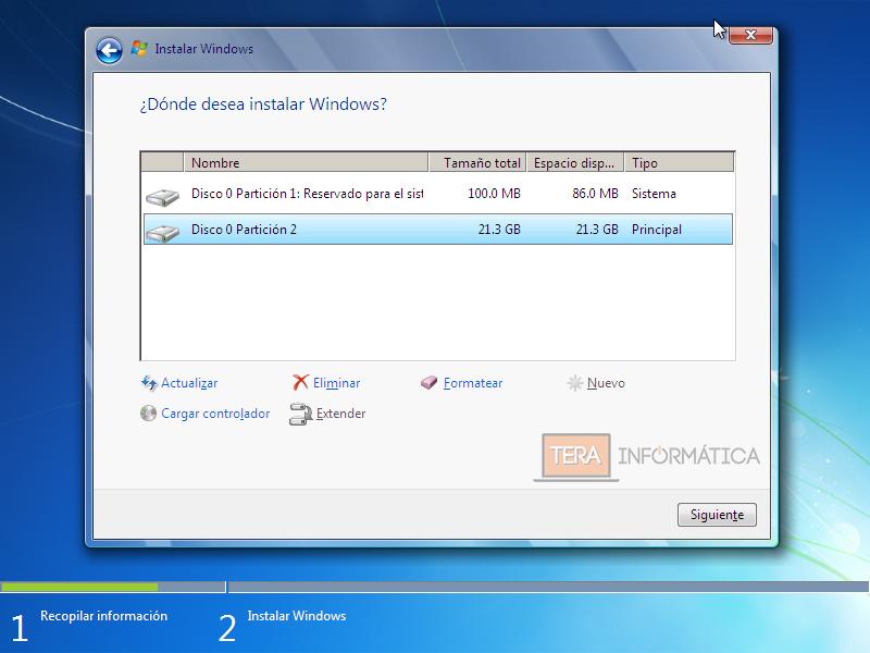 Particiones Windows 7