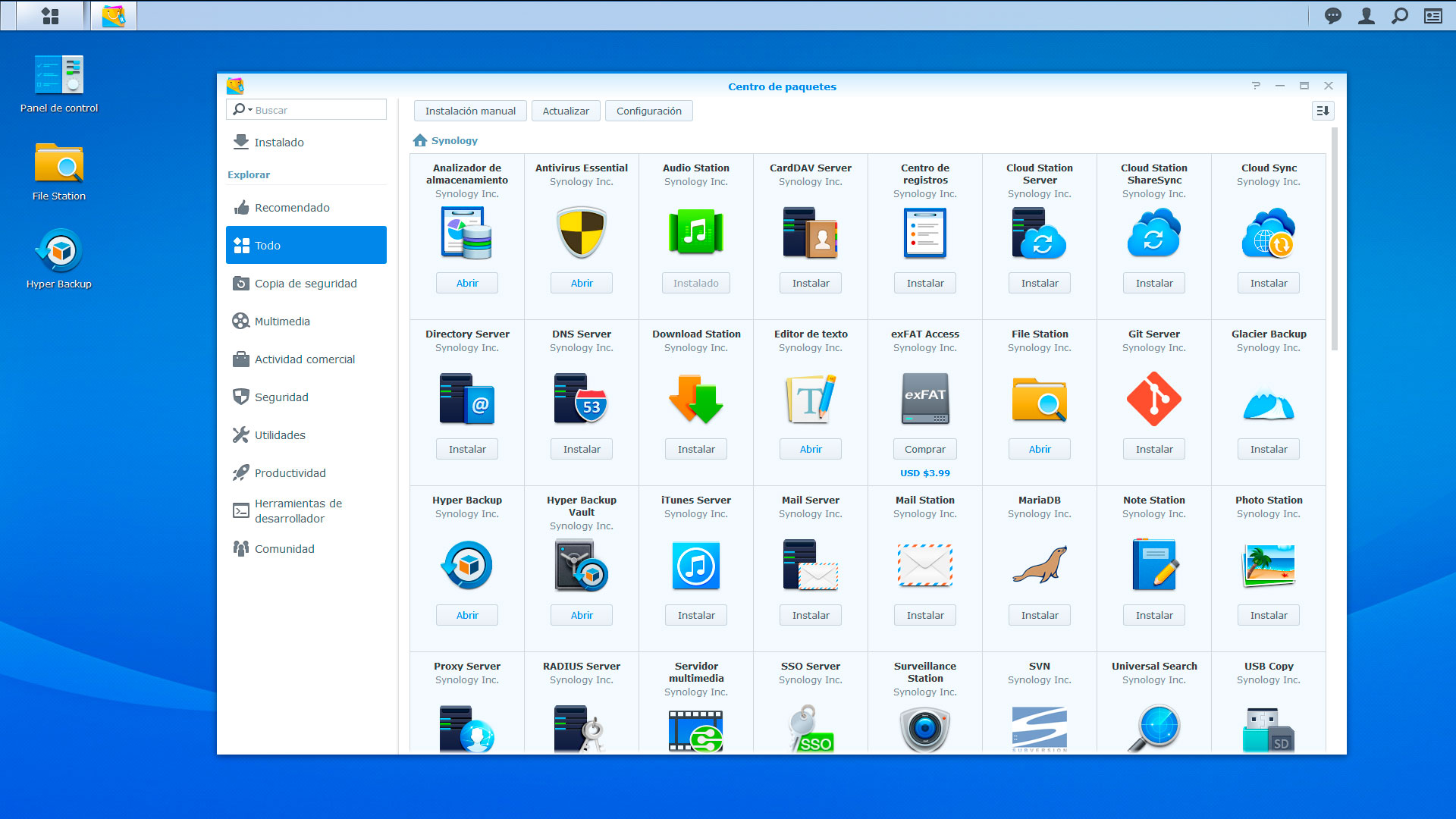 Paquetes synology